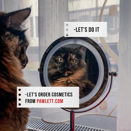 Beauty Store Ad with Funny Cat looking in Mirror Instagram – шаблон для дизайну