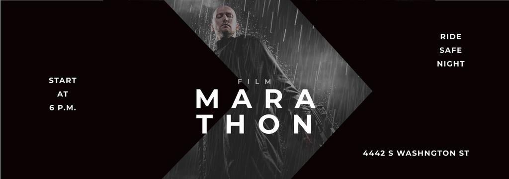 Film Marathon Ad Man with Gun under Rain Tumblr Modelo de Design