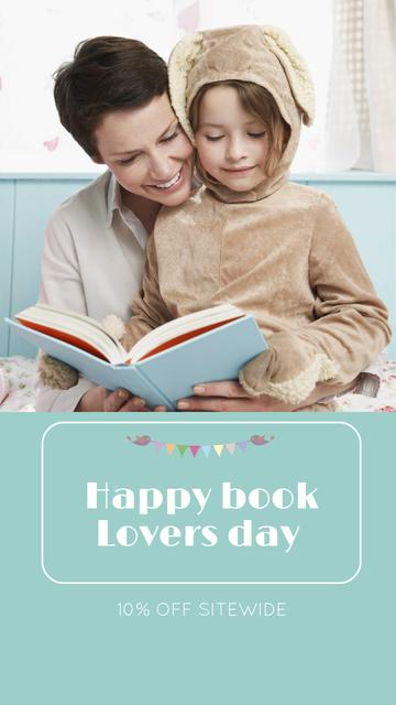 Plantilla de diseño de Book Lovers Day Greeting with Woman reading with Child Instagram Story