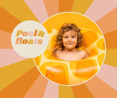 Pools and Floats Sale Offer with Cute Kid Facebook – шаблон для дизайну