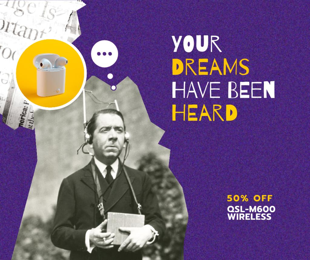 Modèle de visuel Modern Earphones Ad with Man in Retro Headset - Facebook