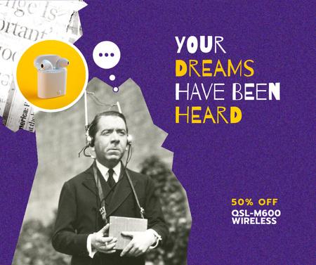 Modern Earphones Ad with Man in Retro Headset Facebook – шаблон для дизайна