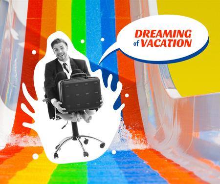 Funny Businessman on Water Slide Facebook Modelo de Design