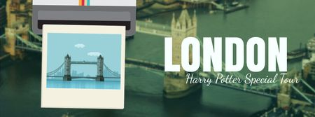 Designvorlage London famous travelling spots für Facebook Video cover