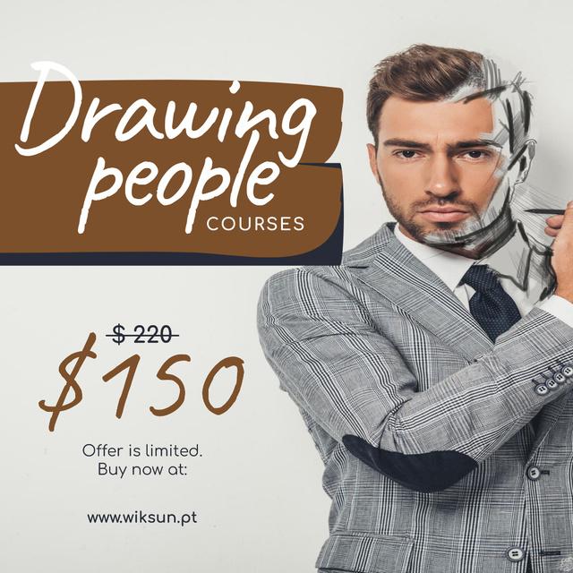 Man in headphones drawing on laptop Instagram – шаблон для дизайну