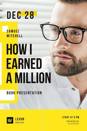 Book Presentation Announcement with Confident Businessman Tumblr tervezősablon