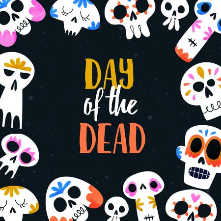 Day of the Dead Holiday Announcement with Funny Bright Skulls Animated Post – шаблон для дизайна