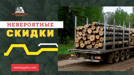 Transportation Services Offer Truck Delivering Logs Full HD video – шаблон для дизайна