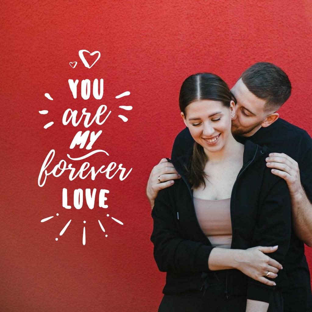 Young Lovers hugging on Valentine's Day Instagram Design Template