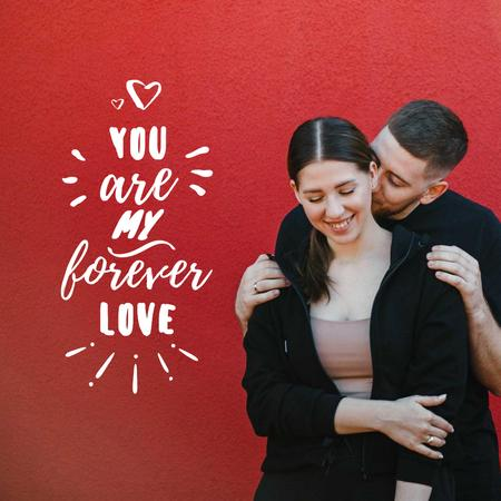 Young Lovers hugging on Valentine's Day Instagram Modelo de Design