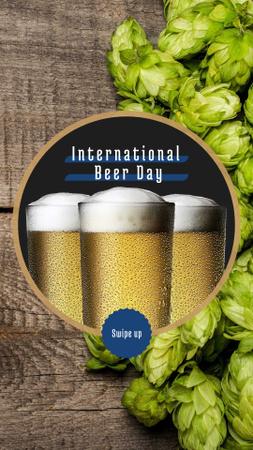 Beer Day Offer Glasses and Hops Instagram Story – шаблон для дизайну