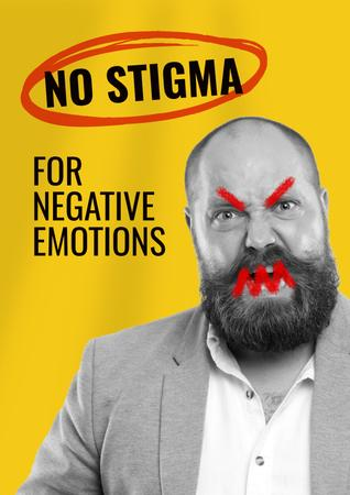 Social Issue Coverage with Angry Man Poster – шаблон для дизайну