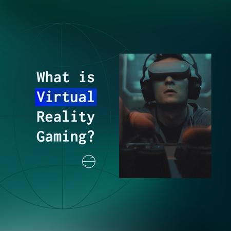 Ontwerpsjabloon van Animated Post van Man using Virtual Reality Glasses