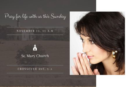 Plantilla de diseño de Church Invitation with praying Woman Gift Certificate