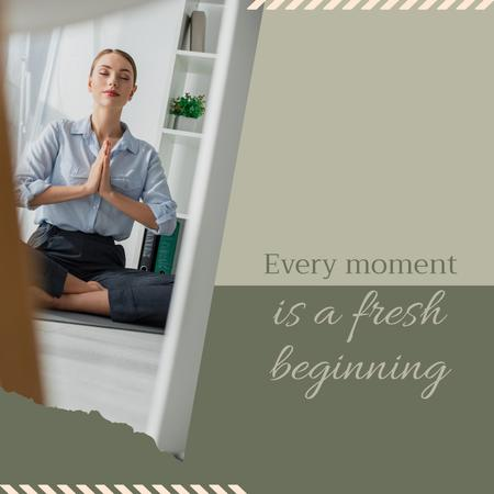 Inspirational Citation with Woman meditating Instagram tervezősablon