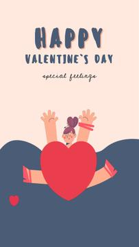 Valentines Card jumping Girl in Heart Costume