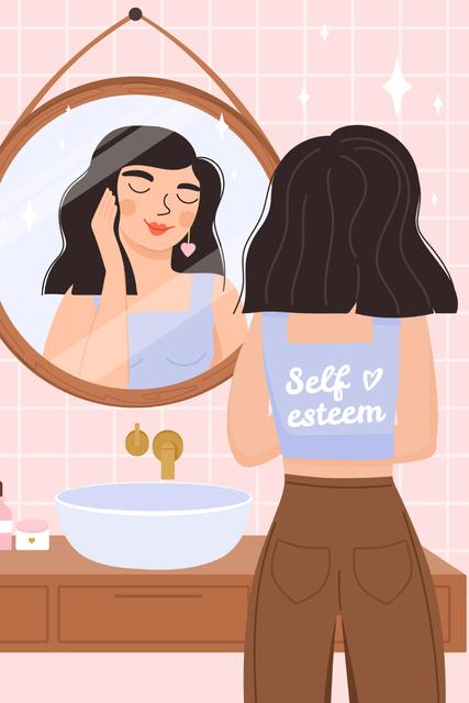 Self Esteem Inspiration with Girl admiring in Mirror Pinterestデザインテンプレート