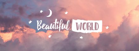 Astrological Inspiration with Pink Clouds Facebook cover Modelo de Design