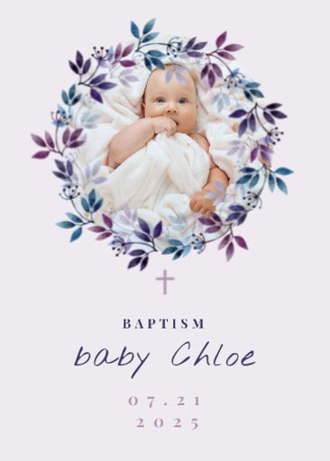 Baptism Ceremony Announcement With Cute Newborn Girl