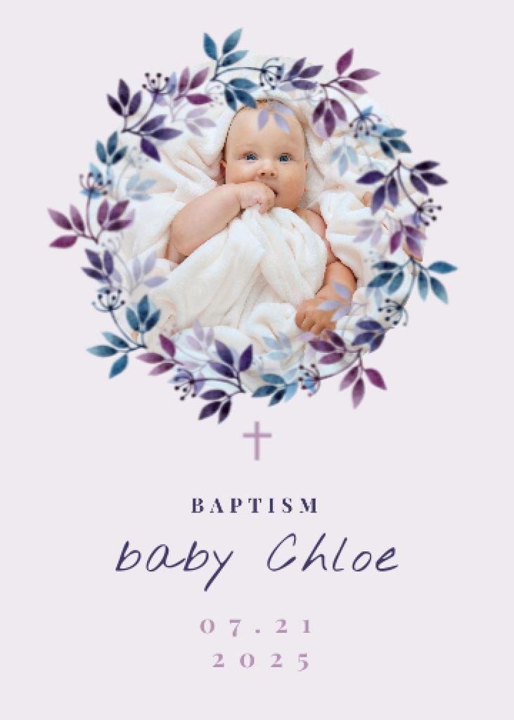 Plantilla de diseño de Baptism Ceremony Announcement with Cute Newborn Girl Invitation