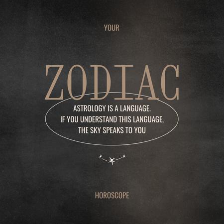 Zodiac Horoscope with Citation about Astrology Instagram tervezősablon