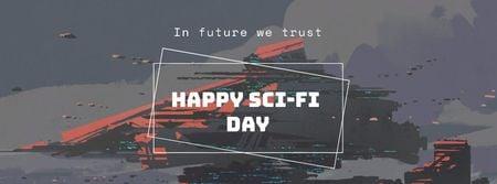 Sci-Fi Day Announcement with Cyber World Facebook cover Modelo de Design
