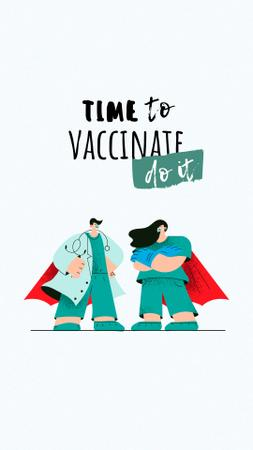 Vaccination Announcement with Doctors in Superhero's Cloaks Instagram Story – шаблон для дизайна