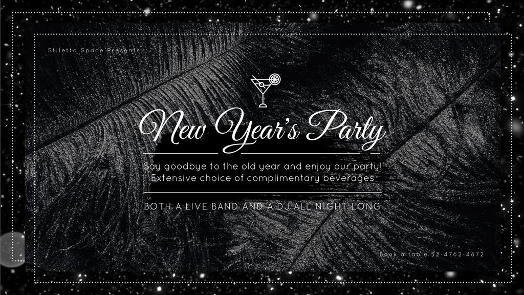 New Year's Party Invitation Black Feathers and Falling Confetti — Maak een ontwerp