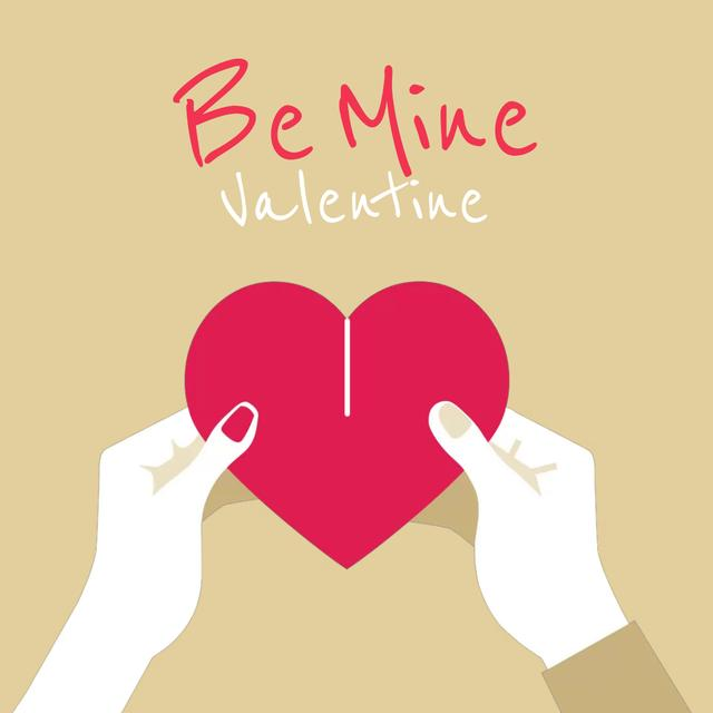 Ontwerpsjabloon van Animated Post van Couple connecting Valentine's Day Heart