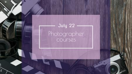 Plantilla de diseño de Photography Courses Ad with Old Camera FB event cover