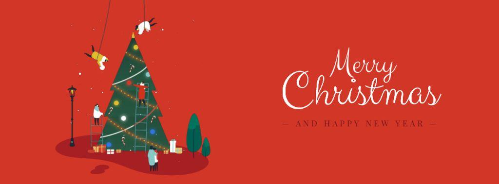 People decorating Christmas tree — Modelo de projeto