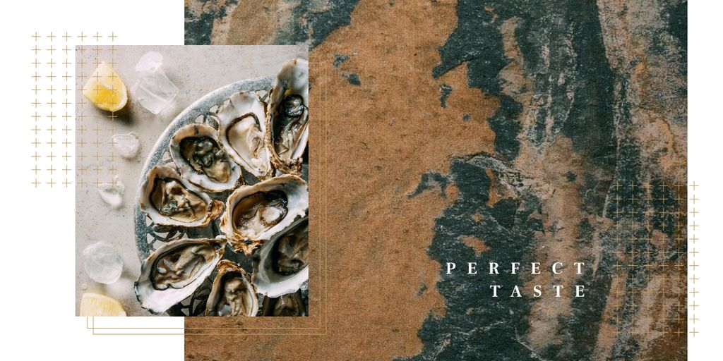Fresh oysters on plate Image Design Template