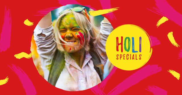 Holi Festival Sale with Girl in Paint Facebook AD – шаблон для дизайна