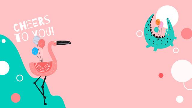 Plantilla de diseño de Dancing Flamingo with Colorful Air Balloons Zoom Background