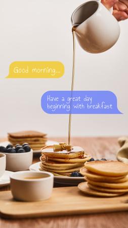 Designvorlage Pancakes with Honey and Blueberries for Breakfast für Instagram Story