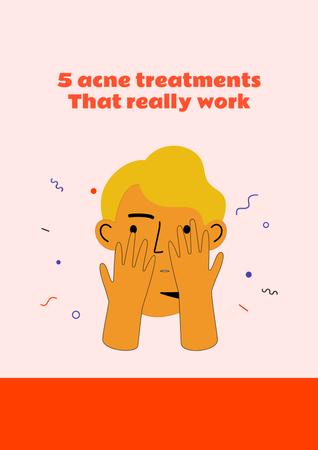 Acne treatment ad with Man touching face Poster Design Template