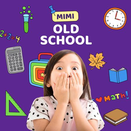 Funny Scared Girl with School Stationery Album Coverデザインテンプレート