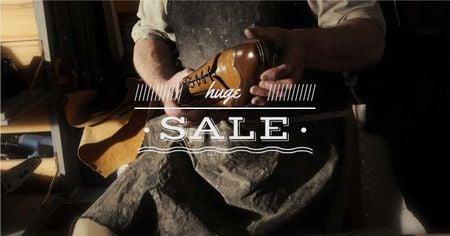 Plantilla de diseño de Master holding Crafted Shoe Facebook AD
