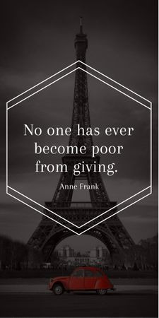 Charity Quote on Eiffel Tower view Graphic Tasarım Şablonu