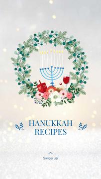 Happy Hanukkah greeting wreath