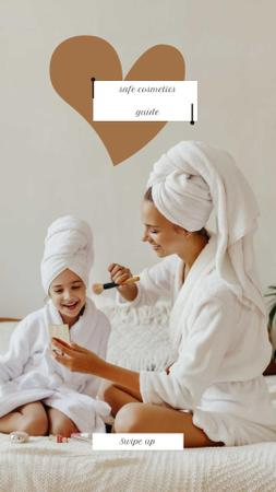 Safe Cosmetics Guide with Mother and Daughter doing Makeup Instagram Story Design Template