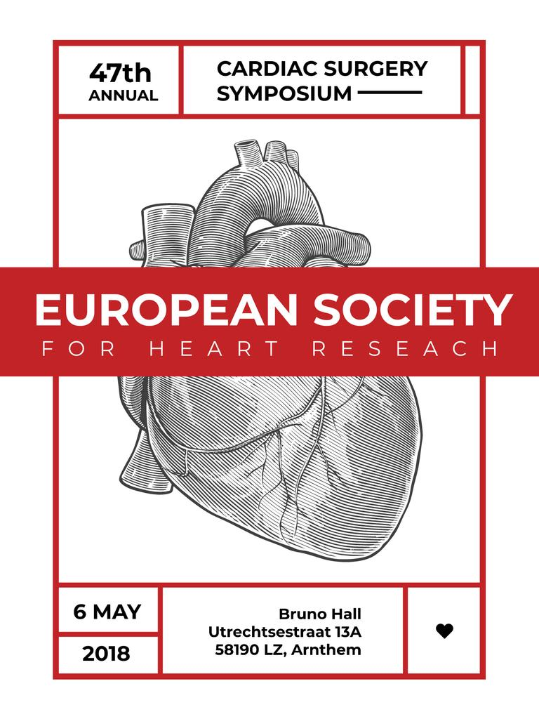 Cardiac Surgery Heart sketch Poster US – шаблон для дизайна