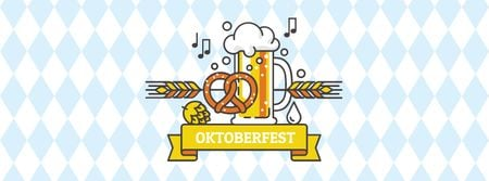 Plantilla de diseño de Oktoberfest Announcement with Glass of Beer Facebook cover