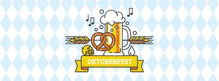 Oktoberfest Announcement with Glass of Beer Facebook cover Modelo de Design