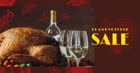 Thanksgiving Sale Ad with turkey and Wine Facebook AD Modelo de Design