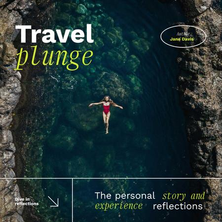 Travel Inspiration with Woman swimming in Lagoon Album Coverデザインテンプレート