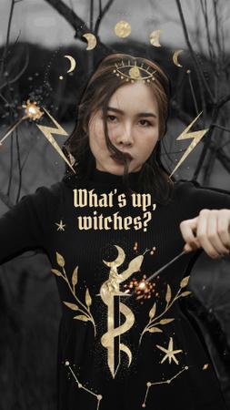 Girl in Witch Costume on Halloween Instagram Story Modelo de Design