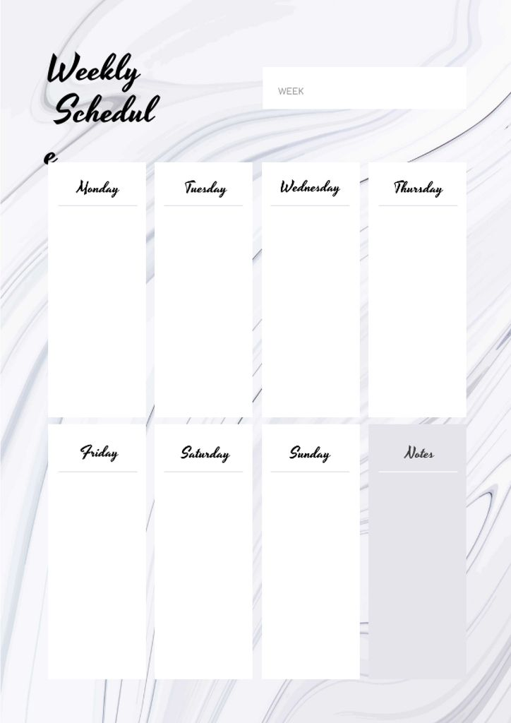 Weekly Schedule Planner on White Waves Texture — Create a Design