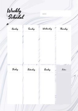 Weekly Schedule Planner on White Waves Texture