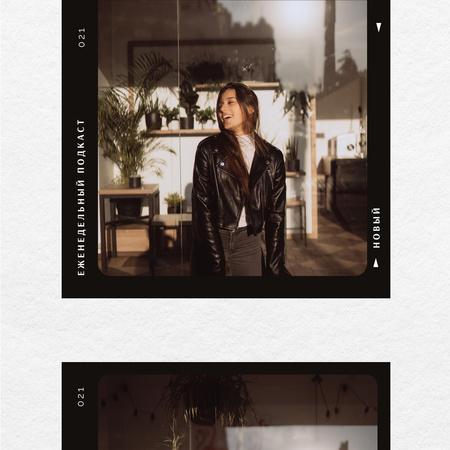 Woman wearing Biker Jacket Instagram – шаблон для дизайна